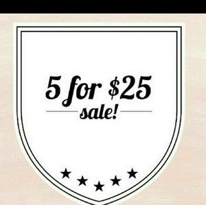 All listings 5/$25 sale! Or 2/$20 or 3/$22 sale